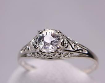 White Zircon Ring, Engagement Ring, Promise Ring, Genuine Gemstone 5mm Round .71ct, Set in 925 Sterling Silver Filgree Ring Mount