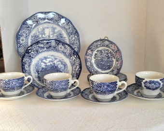 LARGE Vintage Lot of Liberty Blue Staffordshire England 1 Serving Bowl, 1 Serving Platter, 4 Cups, 4 Saucers, 4 Bread and Butter Plates