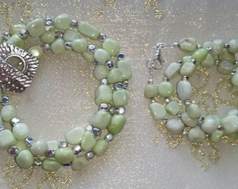 Lemon Chrysoprase Nugget Set