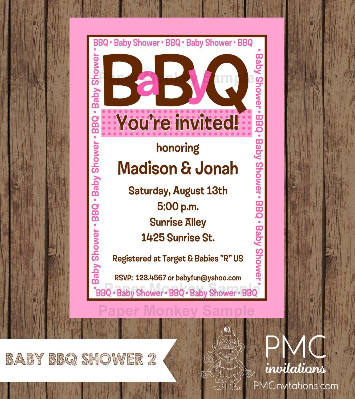 Custom Printed Baby BBQ Shower Invitations for Boy or Girl