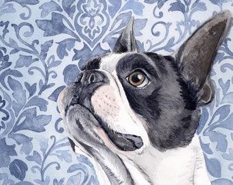ORIGINAL Boston Terrier Painting, Art, Terrier Painting, Terrier Watercolor, Terrier Art, Dog Art, Boston Terrier, Dog Decor, Dog Print