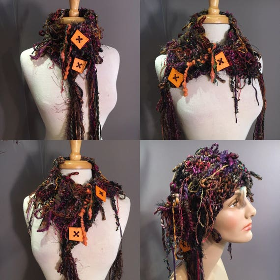 "Hand Knit handspun art yarn chunky neck cowl or choker with buttons,  ""Solstice"", dark Rainbow, chunky scarves, mohair, fringe, boho chic"