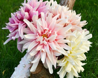 wedding bouquet artificial PU real touch dahlia pink