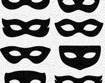 Cricut Template Superhero Eye Masks Masquerade Silhouette No Fill PNG Files  Cutting Machines Scrapbooking Silhouette Studio