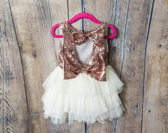 Rose Gold Flower Girl dress, Ivory Tulle Flower Girl Dress, Cream Tulle, Bow Back, glitter dress, Tutu, Miniature Bridesmaid, Country Boho