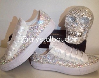 Custom Crystallised Fully Covered Converse Mono's - Perfect for Brides & Bridesmaids! <3