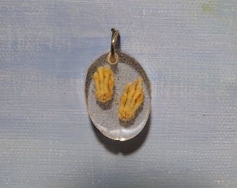 Real Articulated Rat Feet Bones in Resin Necklace Charm
