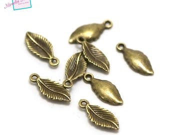 "20 charms ""leaf"" 17 x 7 x 2 mm, 062 bronze"
