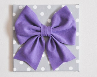 """Baby Nursery Wall Decor -Large Lavender Bow on Gray and White Polka Dot 12 x12"""" Canvas Wall Art"""