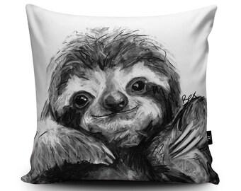 Cute Charcoal Sloth Vegan Cushion by Bex Williams | Cheeky Sloth Handmade Pillow | Sloth Birthday Present | Sloth Bedding Housewarming Gift