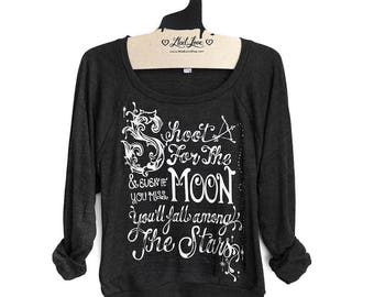 Small -Charcoal Black Tri-Blend Sweatshirt with Shoot For the Moon Screen Print - Large