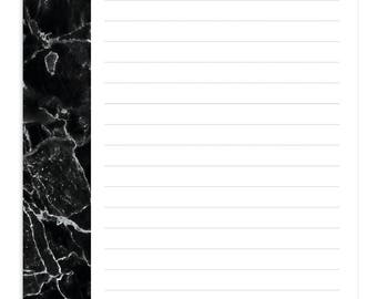 Black Marble Notepads Lined
