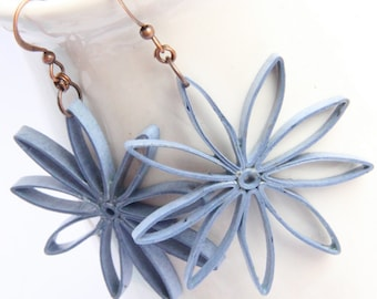 Big Flower Earrings Denim Blue Nine Pointed Stars Paper Quilled Eco Friendly Jewelry Artisan Jewelry hypoallergenic