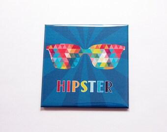 Hipster magnet, Magnet, Fridge magnet, Stocking stuffer, Sunglass magnet, multi color, blue, gift for him, locker magnet (7340)