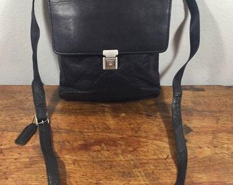 Black Leather Organizer Bag, Purse, Shoulder Bag