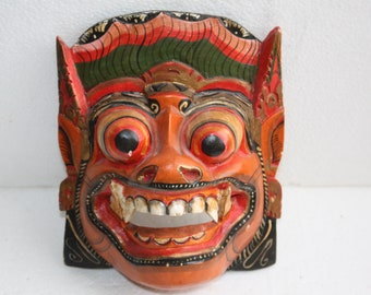 """Traditional Balinese Indonesia Mask Ritual  Hand Carved Painted Wood Art 8"""" Bali"""