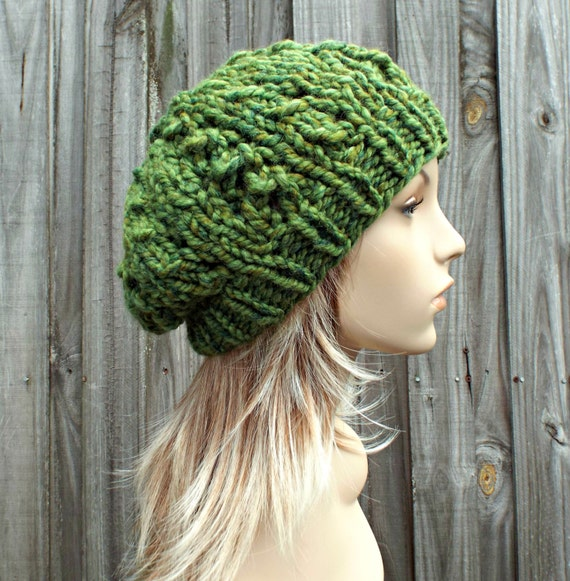 Green Hat Green Womens Hat - Wisteria Beanie Chunky Lace Slouchy Hat in Spearmint Mixed Green Beanie - Womens Accessories