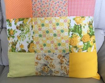 Sunshine patchwork cushion