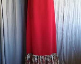 red long dress without sleeves from light weight fabric