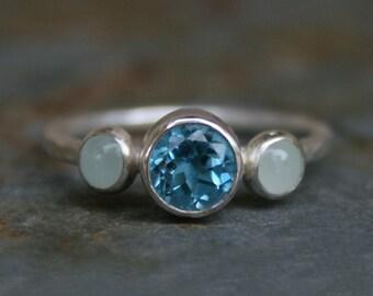 Blue Topaz & Aquamarine Ring, Sterling Silver, Gemstone, Faceted Swiss Blue Topaz, Aquamarine Cabochon, Jewel, Posey Ring