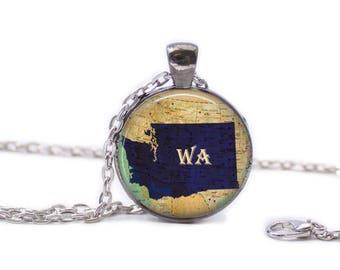 Washington Map Pendant Map Necklace Map Jewelry Travel Necklace