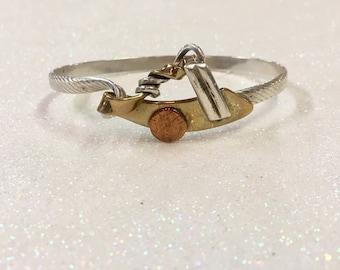 Signed Sterling Silver 925 Brass Copper Modernist Bracelet