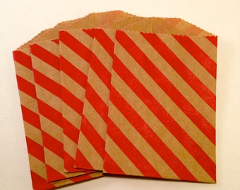Itty Bitty Small mini Red and Kraft striped stripes goodie treat Paper bags advent calendar sacks for Christmas favors candy treats buffet