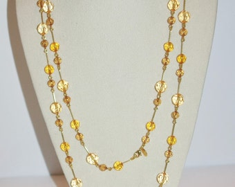 Joan Rivers Beaded Necklace - Gold Tone 60 Inches - S1117