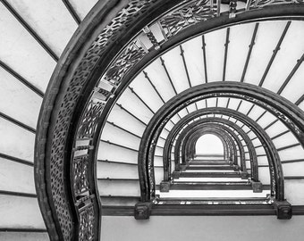 Chicago, The Rookery, Oriel Staircase, Spiral Staircase, Frank Lloyd Wright, Chicago Art, Chicago Architecture, Stairs, Abstract Photo Art