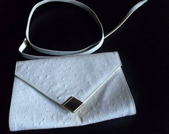 Vintage White leather, sixties vintage handbag, purse, white leather clutch