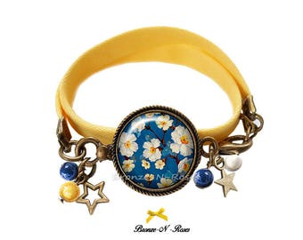 Bracelet * white * nature blue and yellow Pearl cabochon glass