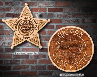 Personalized Wooden Oregon State Police Badge or Patch Plaque