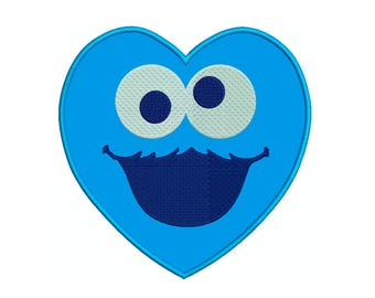 COOKIE MONSTER HEART - Machine Applique Embroidery - Instant Digital Download