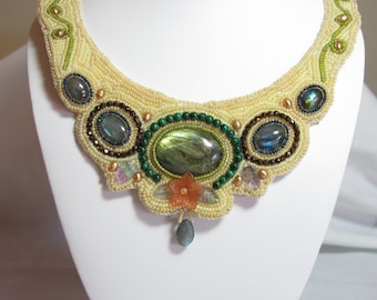 Bead embroidered collar, statement necklace, labradorite cabs fresh water pearls-seed beads-lucite flowers-labradorite briolette-OOAK