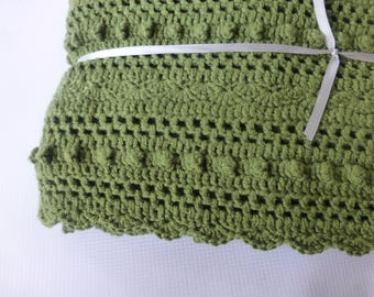 Lacy Olive Green Baby Blanket -  Hand Crocheted Baby Blanket