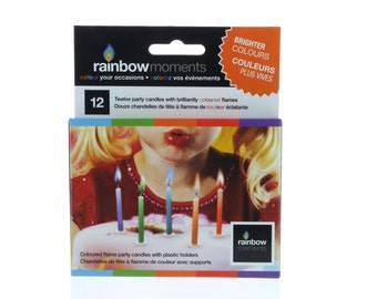 Colorful Rainbow Flame Birthday Candles
