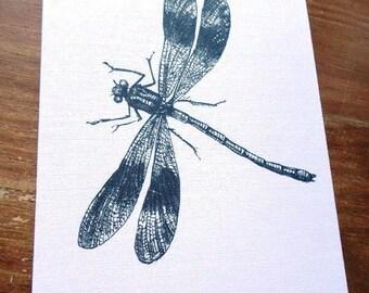 Black and white Dragonfly greeting card handmade 21cm x 15cm