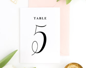 INSTANT DOWNLOAD Table Numbers - Emily Script Hand Lettered Table Numbers - Modern Typography - 5 x 7 - Tables 1-30