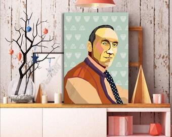 William S. Burroughs FRAMED ART Literature  iconArt gallery Personalized Gift, Name,City, Gift For Women, For Men, For Grandma, For Grandpa,