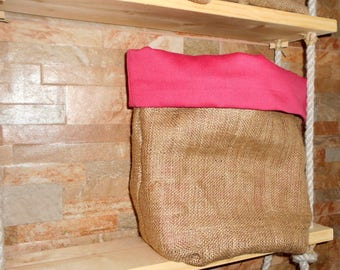 Pink lined burlap bag, Lined Burlap storage bag, Rustic, storage basket