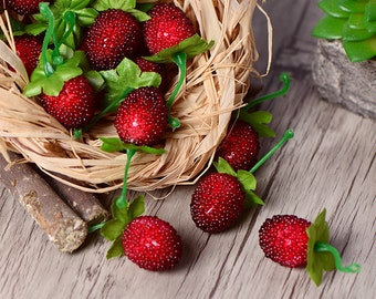 10pcs-Artificial Red Berries,Raspberry Fruit,Fake Ripe Berry for Flower Headpiece,Wedding Decor ,Hair Crown,Christmas Decoration