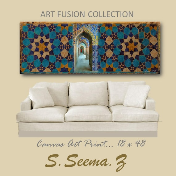 TILES-MORROCCON- 48x18, Giclee, Tiles, Living Room, Blue, Ethnic, Middle Eastern, Turkish, Desi, Islamic Decor, Seema Z