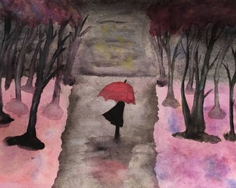 Rainy Day Walking Alone Watercolor Framed Painting