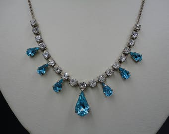 Vintage Clear and Turquoise Diamante/Rhinestone Drop & Silver Tone Chain Choker/Necklace - 1950's - Wedding/Bridal/Prom/Ball