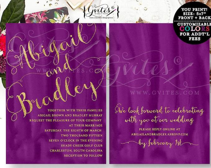 Purple and Gold wedding invitation double sided, gold purple invitations, glitter modern printable, watercolor invites elegant, plum, 5x7.