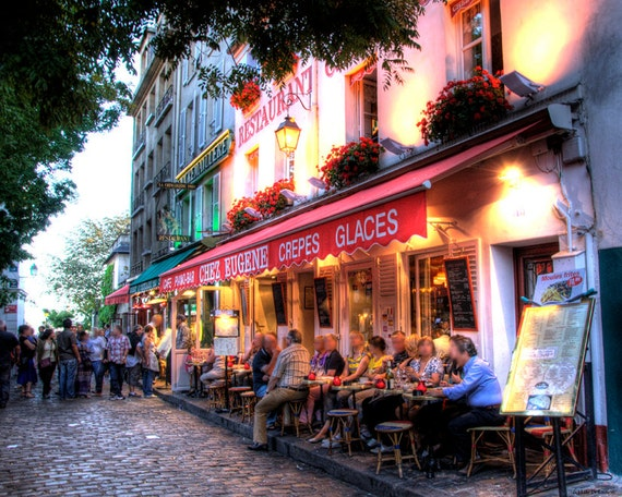 PARIS FRANCE CAFE Night Street French Style Outdoor Cafe