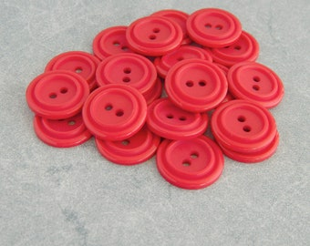 Vintage Buttons-Set of 24 Hot Pink Plastic Buttons-VPB44