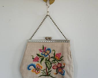 Butterfly Tree 1950s/50s woven linen purse. Vintage handbag. Flower BIG bag. Mid Century yarn by numbers.