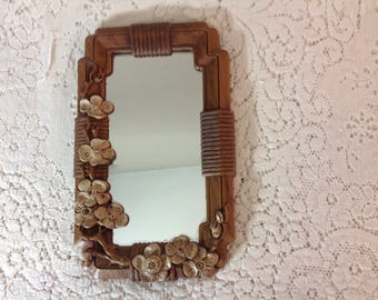 Vintage Homco Cherry Blossom Brown Mirror Small Accent Mirror