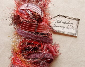 Lovebirds pink champagne fringe trim gold satin ribbon Novelty Fiber Yarn Sampler Bundle